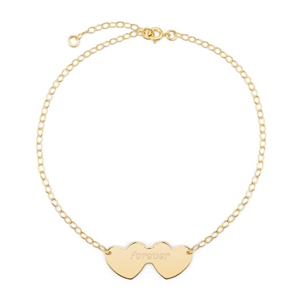 Double Heart Engravable Gold Anklet | Engraved Hearts Anklet