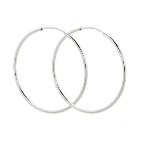 Sterling Silver 1.75 Inch Continuous Hoop Earrings