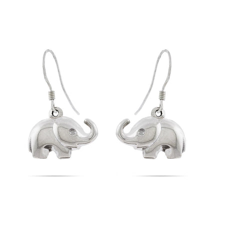Sterling Silver Elephant Dangle Earrings