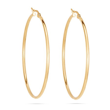 "2"" Classic Gold Stainless Steel Hoop Earrings"