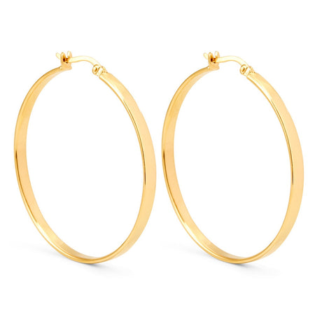 display slide 1 of 1 - Gold Plated Sterling Silver Medium Flat Hoop Earrings - selected slide