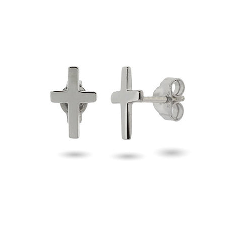 display slide 1 of 1 - Petite Sterling Silver Cross Stud Earrings - selected slide