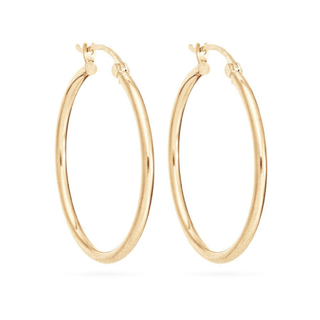 14K Gold 1 Inch Hoop Earrings