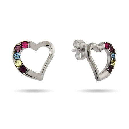 Austrian Crystal Five Birthstone Silver Heart Stud Earrings