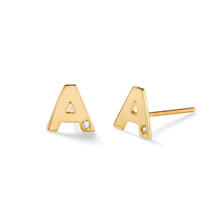Diamond Initial Gold Stud Earrings