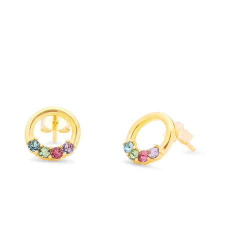 4 Stone Gold Open Circle Stud Earrings