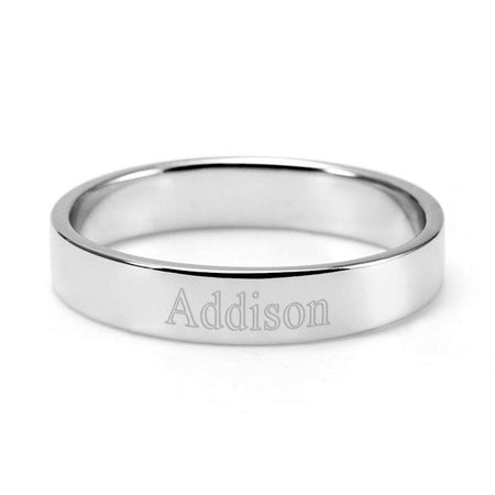Engravable Silver Stacking Name Ring
