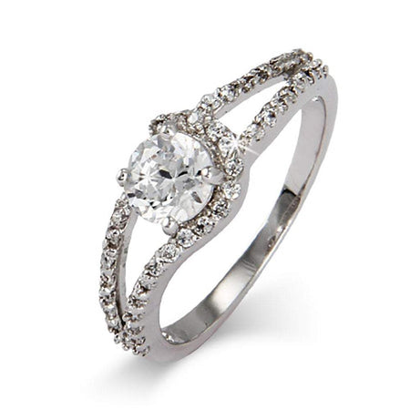 Sterling Silver and CZ Round Cut Promise Ring