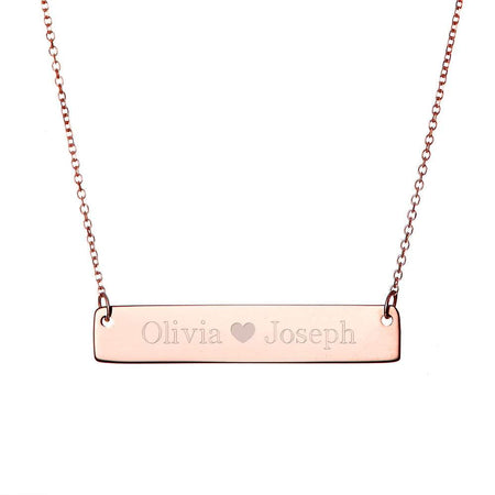 Couple's Rose Gold Name Bar Necklace with Heart