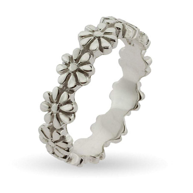 Ring of Flowers Silver Stackable Band