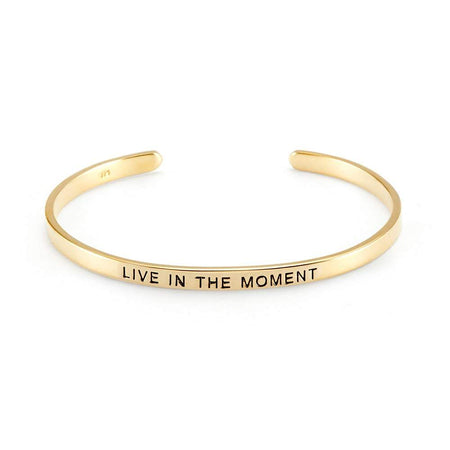 Live In The Moment Gold Enamel Message Bracelet