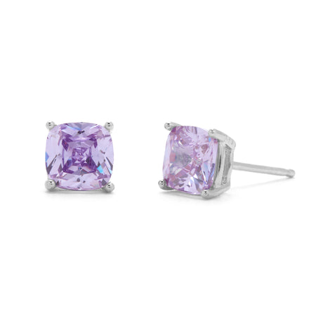 display slide 1 of 2 - Silver Cushion Cut Birthstone Earrings - selected slide