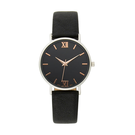 Men's Black Distressed Round Face Japanese Quartz Watch