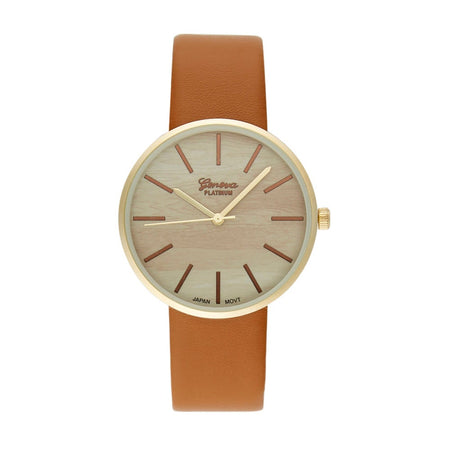 Men's Wood Round Face Gold Plate and Cognac Brown Watch