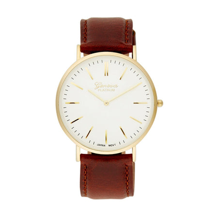 Men's Simple Modern Gold Plated And Dark Brown Band Watch