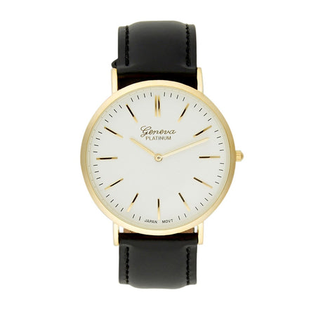Men's Classic Minimal Gold Plated And Black Strap Watch