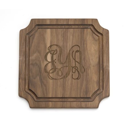 display slide 1 of 5 - Personalized Classic Script Monogram Cutting Board - selected slide
