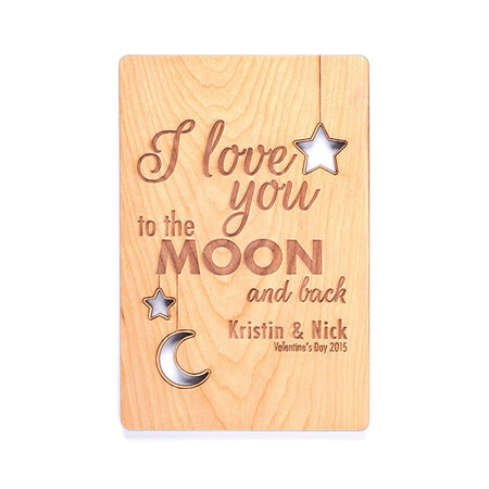 Engravable I Love You To The Moon and Back Wood Postcard