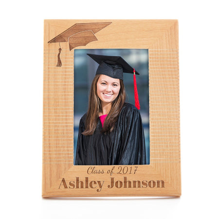 display slide 1 of 1 - Personalized Carved Graduation Hat Wood Frame - selected slide