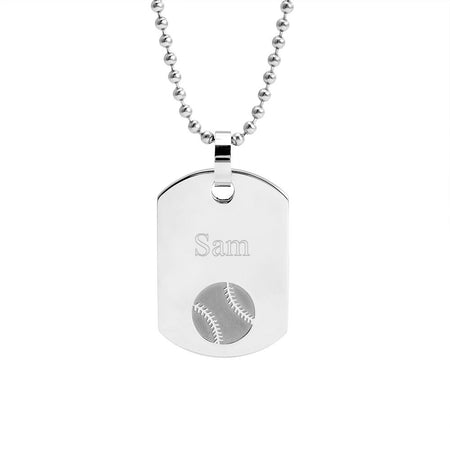 Stainless Steel Engravable Baseball Dog Tag Necklace
