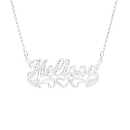 display slide 1 of 2 - Sterling Silver Script Carved Name Plate Necklace - selected slide