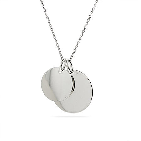 display slide 1 of 2 - Engravable Sterling Silver Double Round Tag Pendant - selected slide