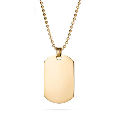 18K Gold Plated Medium Stainless Steel Dog Tag