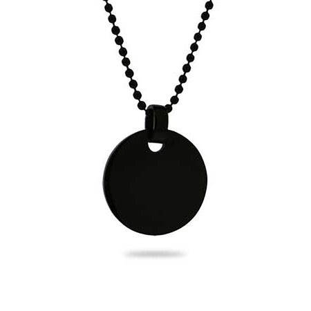 display slide 1 of 1 - Black Plated Small Round Tag Pendant - selected slide