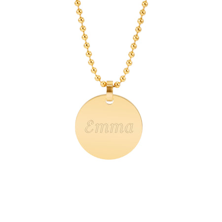 Engravable 18K Gold Plate Small Round Tag Pendant