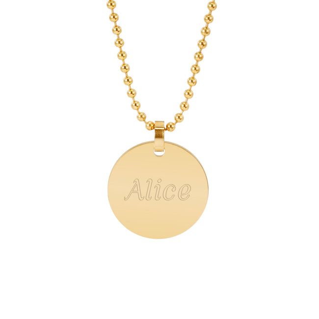 18K Gold Plated Medium Round Charm Necklace