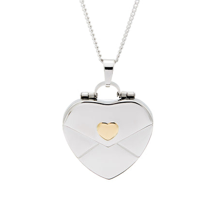 Engravable Gold Heart Secret Message Envelope Locket