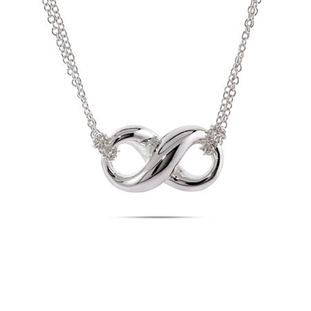 Designer Style Silver Infinity Necklace