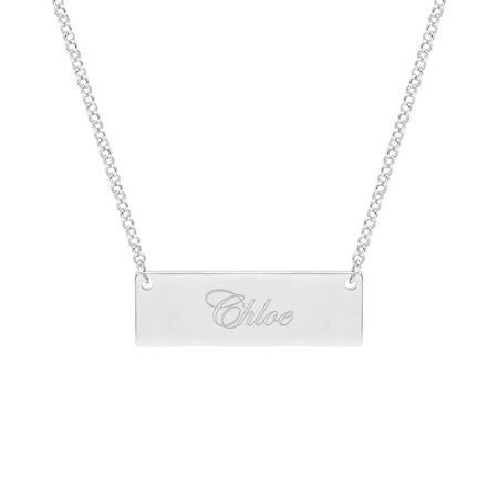 Celebrity Inspired Engraved Name Bar Necklace
