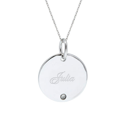 display slide 1 of 4 - Custom Single Birthstone Silver Round Charm Necklace - selected slide