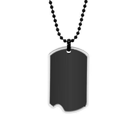 Engravable Black And Stainless Steel Dog Tag