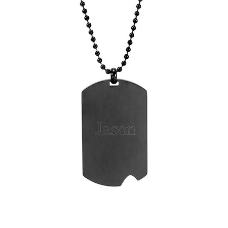 Engravable Black Plate Stainless Steel Dog Tag