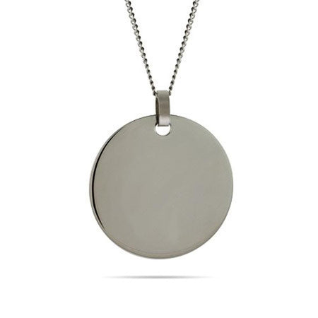 Stainless Steel Engravable Large Round Tag on Curb Chain