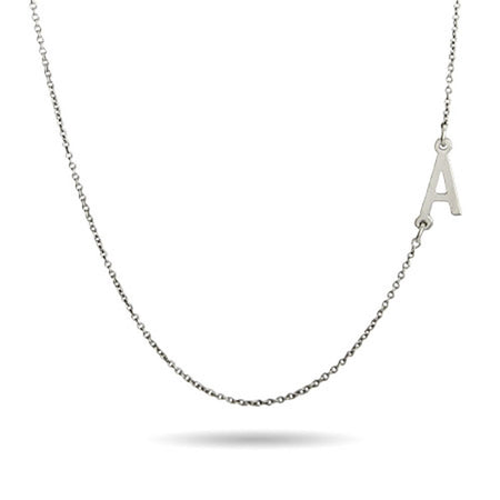 Sterling Silver Sideways Initial Necklace