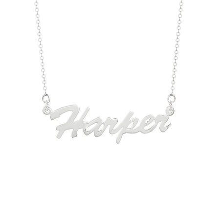 Script Sterling Silver Nameplate Necklace