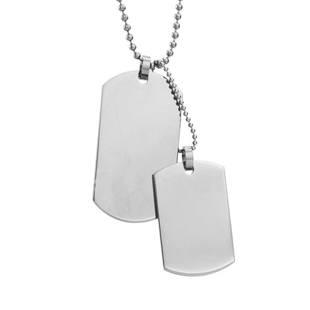 Engravable Large and Medium Double Dog Tag Necklace