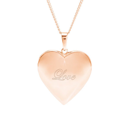 Engravable Rose Gold Polished Heart Photo Locket