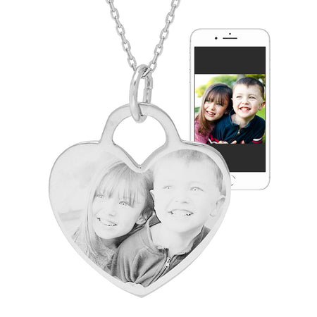 Sterling Silver Heart Photo Pendant