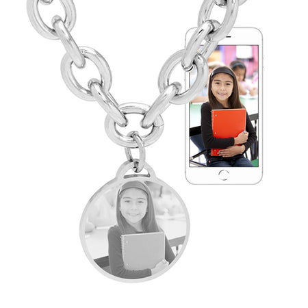 Custom Stainless Steel Round Tag Photo Necklace