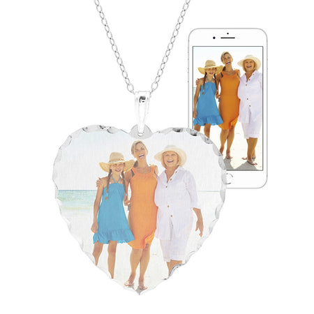 Personalized Color Photo Heart Diamond Cut Necklace