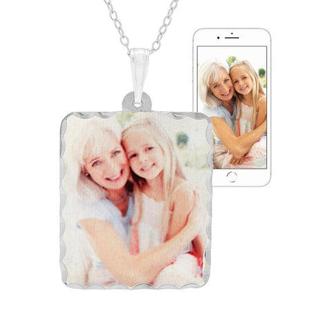 Custom Photo Rectangle Sterling Silver Necklace
