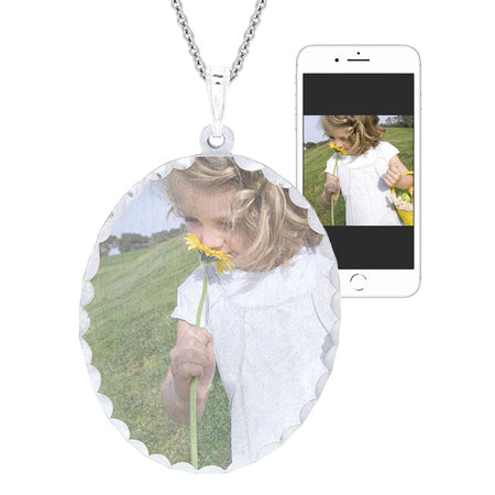 Custom Oval Silver Diamond Cut Color Photo Necklace