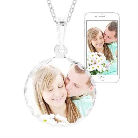 display slide 1 of 4 - Petite Round Sterling Silver Diamond Cut Color Photo Pendant - selected slide