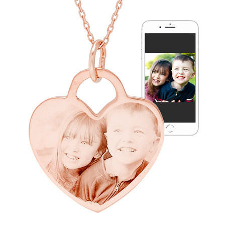 Rose Gold Vermeil Heart Photo Pendant