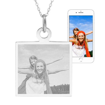 Custom Photo Sterling Silver Square Tag Pendant
