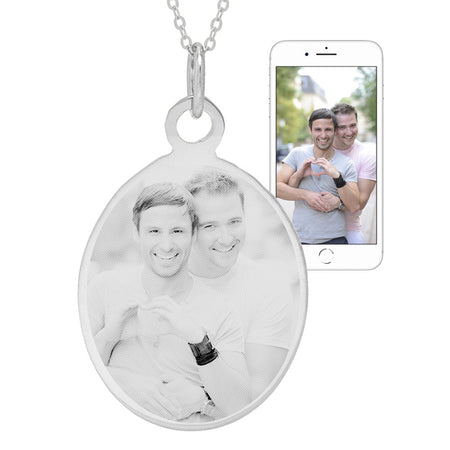 Sterling Silver Oval Tag Photo Necklace